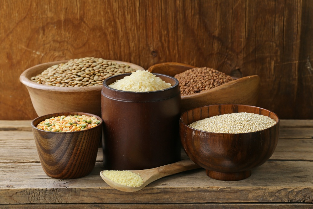 assortment of different grains - buckwheat, rice, lentils, quinoa